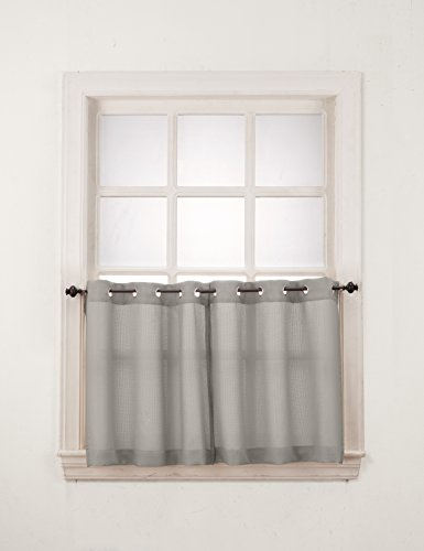 No. 918 Montego Casual Textured Kitchen Curtain Tier Pair, 56″ x 24″, Nickel Gray
