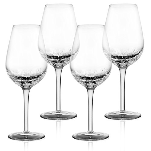 - 4 Pack Crackle Wine Glasses 14oz- Elegant Partially Crackled Bowl- Long, Thick Stem & Stable Base- Unique Handmade Design Sparkles Like Fractured Ice- Iridescent Wine Glasses set for Red & White Wine