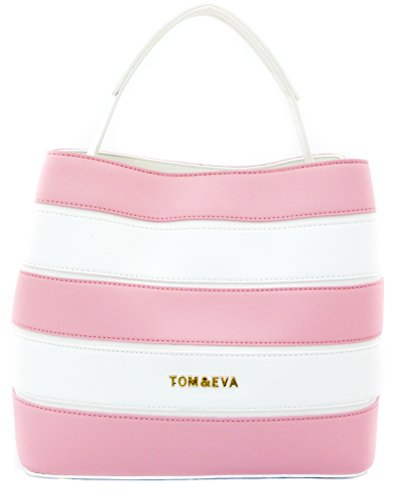 Borsa Shopper Donna Estate Borsetta Rosa / Bianca A Righe