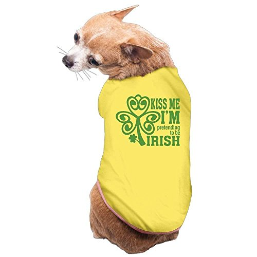 Kiss Jacket French (Dog Cat Pet Shirt Clothes Puppy Vest Soft Thin Kiss Me I'm Pretending To Be Irish 3 Sizes 4 Colors Available)