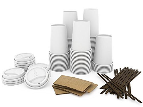 JUMBO Set of 110 - Paper Coffee Hot Cups, Travel Lids, Sleeves & Stirrers -12oz / 360ml - WHITE Paper Cups - to go Coffee Cups, Disposable Travel Mug & Cover Hot/Cold Coffee, Tea & Chocolate, Hot Coco