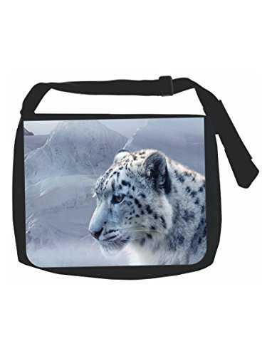 Many Wildlife Animals (Snow Leopard Wildlife Animal - Black School Shoulder Messenger Bag)