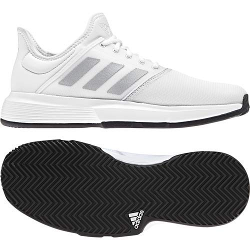 adidas Men's Gamecourt, White/Matte Silver/Black, 7.5 M US by adidas (Image #8)