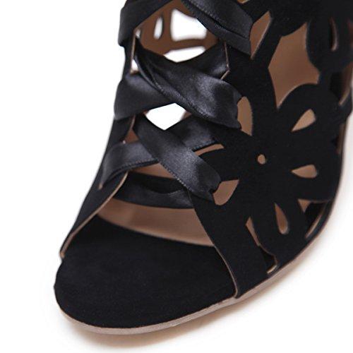 tacchi con Femmina esposto trasparente stivali nuovo Stivali fashion Inizio primavera Scarpe bow freddo della pesce irregolare alti ZHZNVX tie bocca con 39 nero di q6wWIAzCC