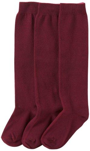 Jefferies Socks Big Girls'  School Uniform Knee High  (Pack of 3), Burgundy, Medium (Knee High Burgandy Socks)