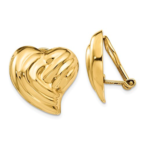 ICE CARATS 14k Yellow Gold Non Pierced Clip On Heart Earrings Love Fine Jewelry Ideal Mothers Day Gifts For Mom Women Gift Set From Heart by ICE CARATS