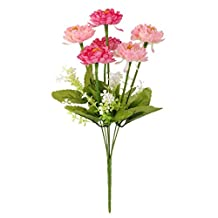 1 Bunch Fake Snow Lotus Artificial Flower Bouquet Home Office Decor Pink