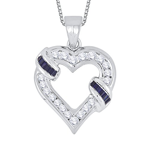 Round and Baguette Cut Diamond with Sapphire Heart Pendant with Chain in 14K White Gold (7/8 cttw)(Color-GH, Clarity-I1)