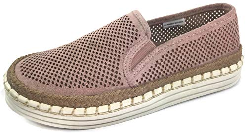 Fashion Slip On Sneakers with Jute Trim and Whip Stitch Faux Suede, Du Mauve, 7