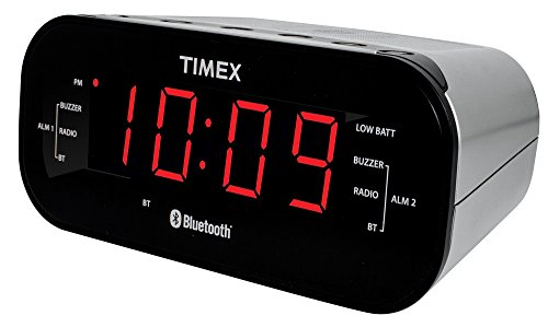 Timex T332S Bluetooth Dual Alarm Radio Alarm Clock, Black (Digital Ipod Docking Music System)