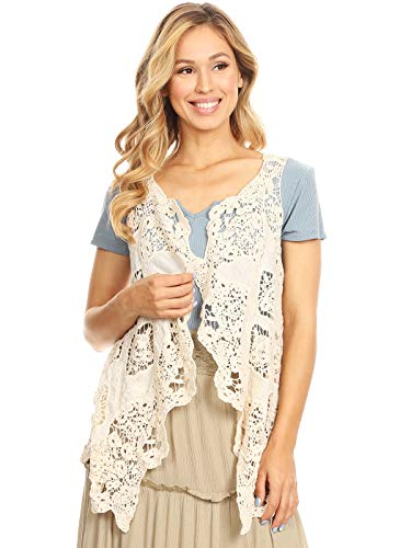 Anna-Kaci Women's Floral Open Stitch Flowy Boho Hippie Cardigan Crochet Vest