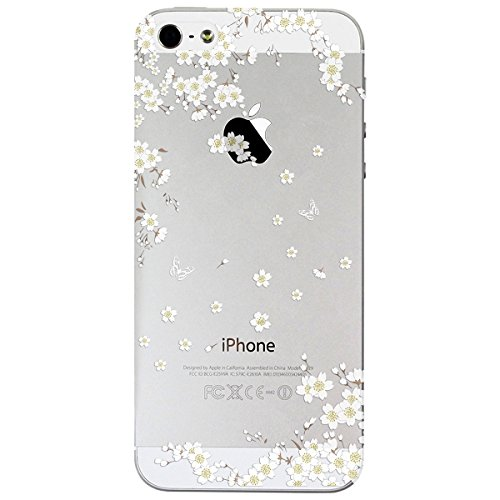 Funda iPhone 7 iPhone 8, WE LOVE CASE Transparent Rígida Diseño Hard Cáscara Bumper Dura Funda iPhone 7 iPhone 8 Caso Ultra Delgado Funda Cubierta de Protección Anti-Arañazos Funda Apple iPhone 7 8 4, Pear Flower