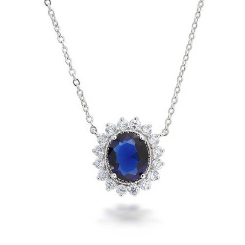 Bling Jewelry Vintage Style Oval Royal Blue Simulated Sapphire AAA CZ Halo Crown Pendant Necklace for Women Silver Plated Brass ()
