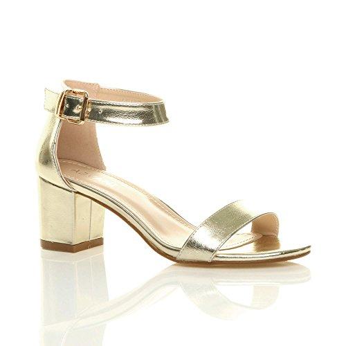Ajvani Block Women Heel Mid Sandals Strappy Size Metallic Gold rqCBr