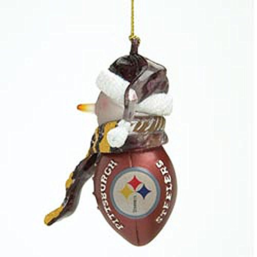 (Pittsburgh Steelers NFL Striped Acrylic Snowman Ornament (3)