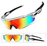 FEISEDY Polarized Sports Sunglasses Changeable Lenses TR90 Frame Cycling B2280 (6, 52)