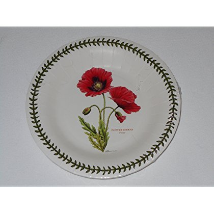 (Botanic Garden Poppy Portmeirion by CR Gibson Coated Paper Luncheon Dessert Plates 8 Count )