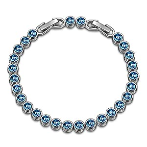 LADY COLOUR Jewelry Gifts for Women, Ballad for Adeline Series Blue Tennis Bracelet 6.4″ + 1.1″/ Earrings, Crystals from Swarovski Jewelry Gift BoxPacking, Christmas Birthday Gifts for Her