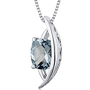 Intricate 1.25 carats Radiant Checkerboard Cut Sterling Silver Rhodium Finish Aquamarine Pendant