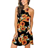 Unbranded* Women's Sleeveless Loose Plain Dresses Casual Short Dress with Pockets Floral Sunflower Black X-Small