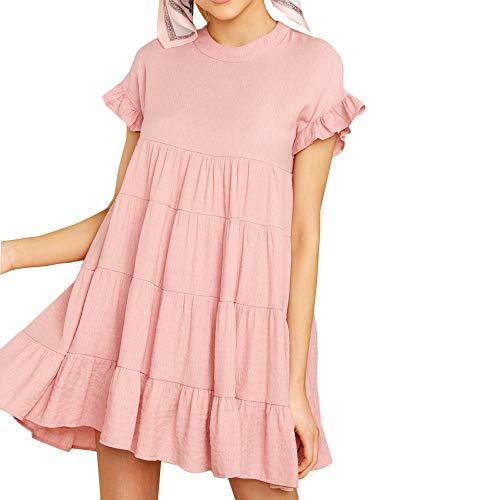 Pink Ruffle - Joteisy Women's O Neck Ruffle Short Sleeve Tiered Casual Mini Dress (M, Pink)