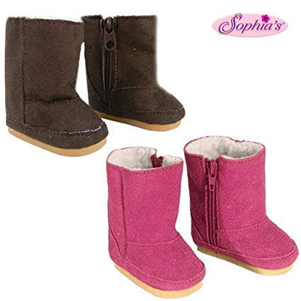 18 Inch Doll Boots 2 Pair Set, Our Faux Suede Ewe Boots Will Fit American Girl Dolls & More! Doll Shoe Set of 1 Pair Hot Pink, 1 Pair Brown Doll Items, Perfect for Doll Clothes for 18 Inch Dolls! (My Life Doll Gray Boots)