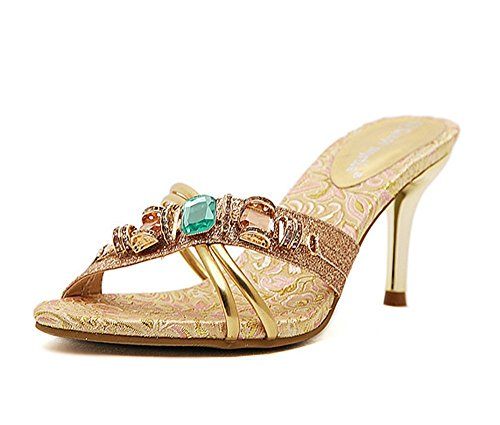 BININBOX Elegant Womens High Heels Stiletto Sandals & Mules With Rhinestone Sandals Gold OZQ1AA2z