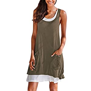 BLENCOT Women Summer Fashion Sleeveless Shirt Mini Dress Pockets Scoop Neck Beach Sun Dress Coffee Large