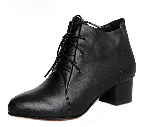 mujeres EU36 encaje individuales y Sra cargadores de las otoño botas primavera con de las botas de US6 de en gruesa señora CN36 con botas UK4 de los Martin wPq1q4H