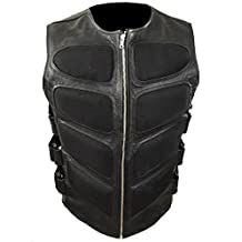 Mens Sexy Stylish SWAT Style Real Black Leather Bikers Waistcoat Vest BLUF- (SWAT2)
