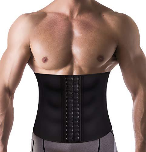 Wonderience Men Waist Trainer Belt Slimming Body Shaper Sweat Weight Loss Corset (Black, 3XL)