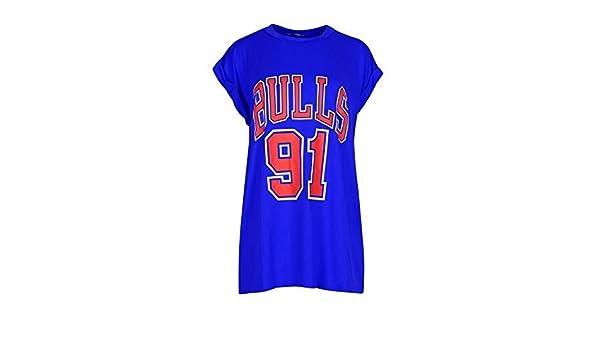 Mujer TOROS 91 Estampado Universidad Deportivo Beisbol Fútbol Baloncesto Cuello Redondo Con Vuelta Manga Japonesa Camiseta Superior - Azul Real, ...