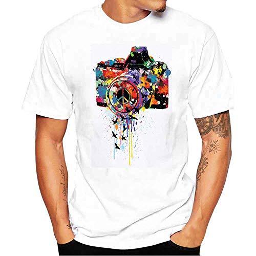 Couleur Petit Hommes shirt Jiameng Loisirs Blanc Rond Caméra Casual Tops Manche Créatif Quotidiens Impression Blouse Courte Classique Shirt Oiseau Simple Mode Tee T Col Culture dzqwIq