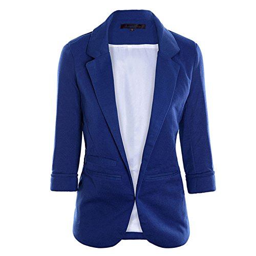 JIANGTAOLANG Women Slim Fit Blazer Jackets Notched Office Work Open Front Candy Color Blazer Blue S