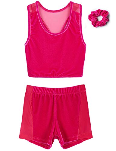 MdnMd Girls' Gymnastics Leotard Outfits (2 Piece sets) (Tag120 (Age 4-6 Height 44-49
