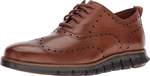 Cole Haan Mens Zerogrand Wingtip Oxford II British Tan/Dark Roast 11 W - Wide