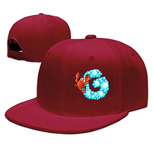 Price comparison product image ZOENA Ocean Fish Alphabet G Cartoon Cotton Hats Walk Snapback Cap For Outdoor Sports Red