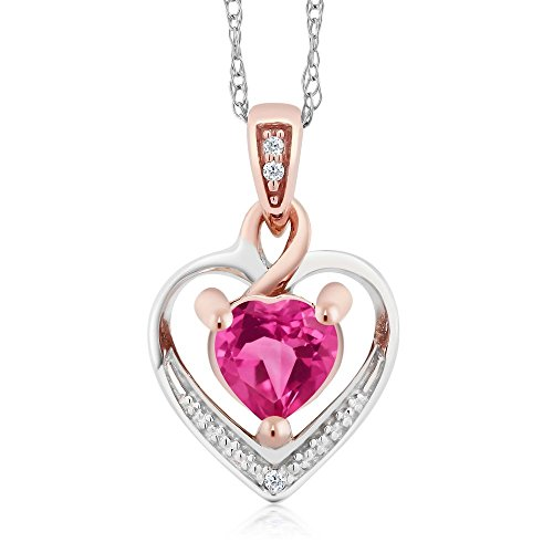 Gem Stone King 10K White and Rose Gold Pink Created Sapphire and Diamond Heart Shape Pendant Necklace (0.60 cttw, With 18 inch Chain)