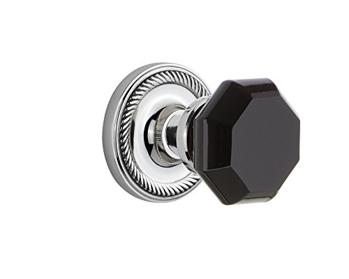 (Nostalgic Warehouse 725015 Rope Rosette Privacy Waldorf Black Door Knob in Bright Chrome, 2.375)