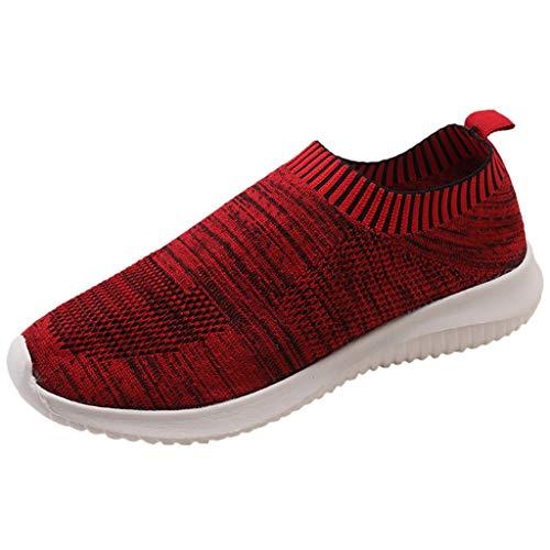Wedge Sneakers for Women Women's Walking Sock Shoes Lightweight Mesh Slip-on- Breathable Yoga Sneakers Red
