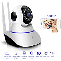 1080P IP Camera Wireless Home Security Surveillance System 360 Degree Indoors Wifi Network Webcam Night Vision Baby Monitor Nanny Cam for Pet CCTV Cameras Video Recorder 1920 * 1080