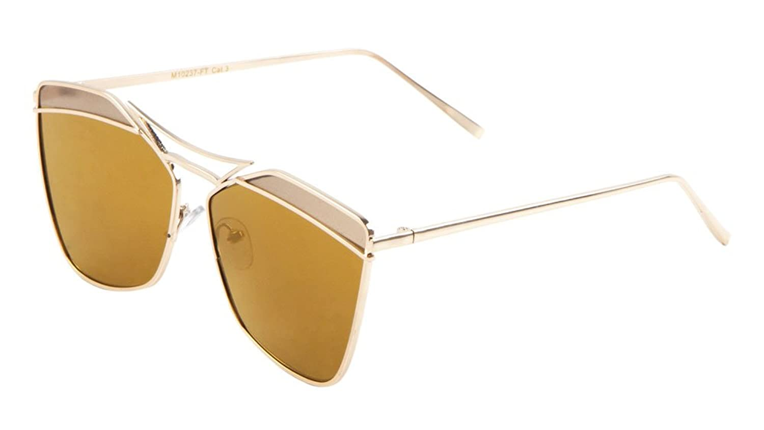 Sunglasses Luxe. Metal Fashion Cat Eye Sunglasses with Flat Lens. (BROWN)
