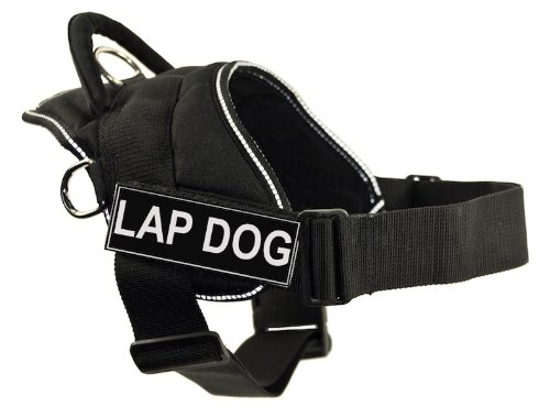 DT Fun Harness, Lap Dog, Black With Reflective Trim, Small - Fits Girth Size: 22-Inch to 27-Inch