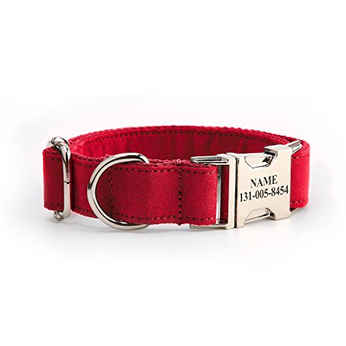 hipidog Personalized Dog Collar, Custom Engraving with Pet Name and Phone Number, Adjustable Tough Nylon ID Collar, Matching Leash Available Separately (Red)