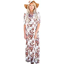 Mikarose Michelle Modest Maxi Dress In White Floral Print