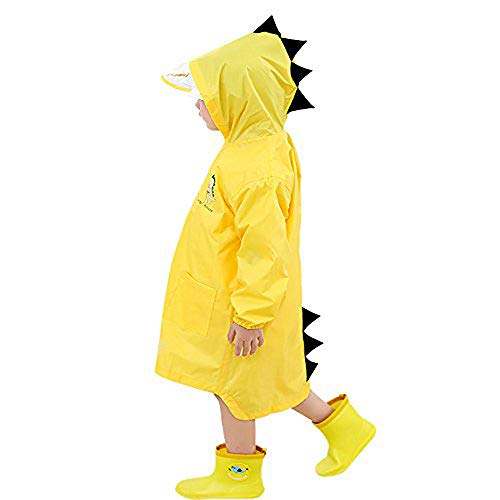 Doubmall Raincoat for Kids Rain Jacket Age 6-10 Cute Dinosaur Shaped Child's Funny Lightweight Outdoor Cartoon Rain Wear Slicker for Boys for Girls [L Size] ... Yellow