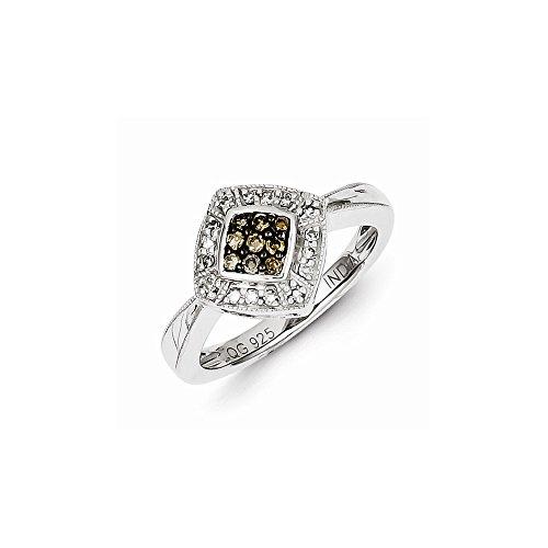 Sterling Silver Champagne Diamond & Small Diamond Shape Ring