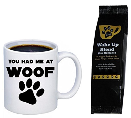 You Had Me at Woof Paw Print Mug with Lazy Dog Wake Up Blend Coffee for Humans Gift Set Bundle (2 Items)