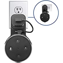 Macally Echo Dot Wall Mount Holder for Amazon Alexa 2nd Gen Speaker | Compact Bracket Stand Saves Home & Kitchen Counter Space | Hanger Accessories Without Messy Wires or Screws (Black)