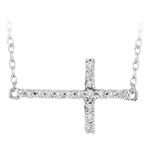 0.05 Carat (ctw) Sterling Silver Sideways Cross Round White Diamond Ladies Pendant with 18 inch Chain ()